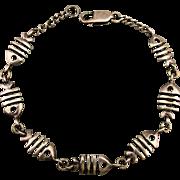 Vintage Sterling Silver Boney Fish Link Bracelet Bone Fish