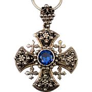 Old Sterling Silver Mexican Cannetille Cross Pendant Necklace