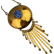 Vintage Hammered Brass Necklace w/ Dangles - Lapis Stone