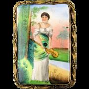 Victorian Handpainted Porcelain Pin - Ukulele Lady Uke Gal