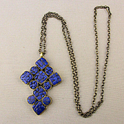 Vintage Handmade Gilded Cross w/ Inlaid Lapis Pendant Necklace