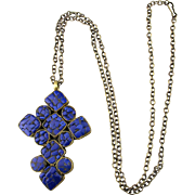 Vintage Handmade Gilded Cross w/ Inlaid Lapis Pendant Necklace
