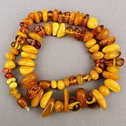 Vintage Egg Yolk - Translucent Baltic Amber Chunky Bead Necklace