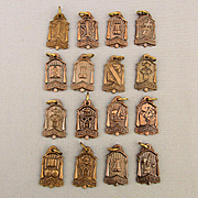1930s Herff Jones Educational Copper Fob Charms Medals Set