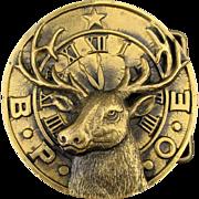 Vintage 1970s B.P.O.E. Solid Brass Belt Buckle ELKS