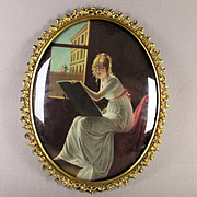 Victorian Ornate Gilt Metal Bubble Glass Frame w/ Artist Girl Print