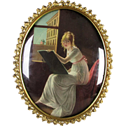 Victorian Ornate Gilt Metal Bubble Glass Frame w/ Artist Girl Print