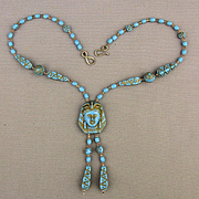Old Czech Glass Bead Egyptian Motif Sautoir Necklace