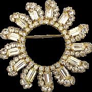 Big Vintage Rays of Sun Rhinestone Pin Brooch