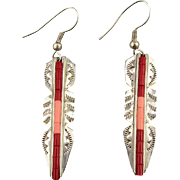 Signed L.J. Navajo Sterling Silver Coral Feather Earrings Lester Jackson
