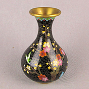 Old Chinese Black Cloisonne Enamel Vase w / Bird - Flowers