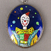 Signed Harold Tishler Enamel on Sterling Silver Pendant Necklace Clown