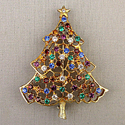 Vintage Eisenberg Ice Rhinestone Christmas Tree Pin Brooch