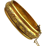 Victorian Small Wide Gold-Filled Bracelet Etched Hinged Bangle