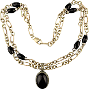 Wowza 2 Strand Sterling Silver Necklace w/ Black Onyx Rhinestone Beads