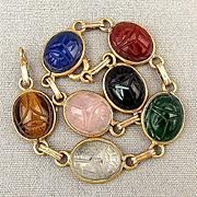 Vintage 14K Gold Egyptian Revival Scarab Bracelet w/ Gemstone Scarabs
