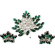 Signed B. DAVID Rhinestone Pin - Earrings Set w/ Austrian Crystals