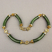 Vintage Chinese Gold-Filled Jade Necklace Jadeite