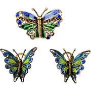Enamel Butterfly Pin - Earrings Set Vermeil on 800 Silver Filigree