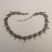 Lacy Filigree Sterling Silver Necklace w/ Dainty Pearl Drops