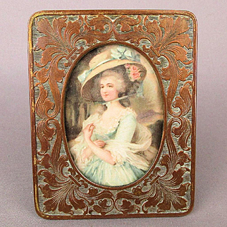 Old Victorian Mixed Metals Picture Frame Copper Brass Vanity Favorite