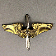 WWII 1940s Sterling Silver Wings Hat Pin Army Airforce