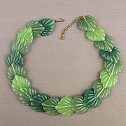 Fresh Green Leafy Necklace - Figural Lucite Leaves Jade Colors