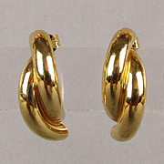 Modernist 14K Gold Semi Hoop Earrings