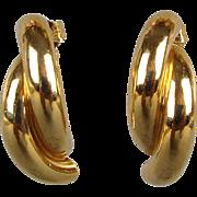 Modernist 14K Gold Semi Hoop Earrings