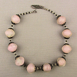 Chunky Camphor Glass Crystal Bead Necklace w/ Sterling Silver Beaded Caps