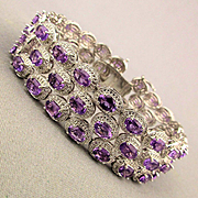 Sublime Sterling Silver 3 Row Genuine Amethyst Bracelet