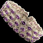 Sublime Sterling Silver 3 Row Genuine Amethyst Bracelet