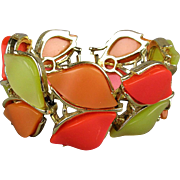 Cheery 1960s Wide Thermoset Bracelet - 2 Rows 3 Colors