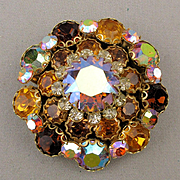 Big Stacked Rhinestone Pin Brooch - Fiery Amber AB Crystals