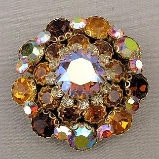 Big Stacked Rhinestone Pin Brooch - Fiery Amber AB Crystals