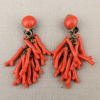 Old Faux Branch Coral Dangle Clip Earrings