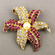Vintage Ivana Trump (Wife #1) Rhinestone Flower Pin Pendant