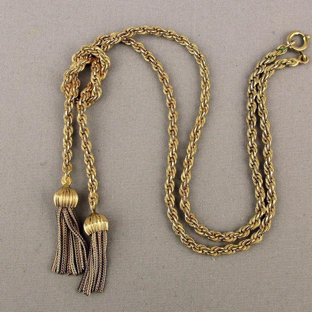 Winard Gold Filled Woven Chain Necklace W Tassels C1940s