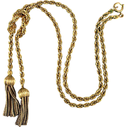 Winard Gold-Filled Woven Chain Necklace w/ Tassels c1940s