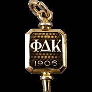Vintage Phi Delta Kappa 10k Gold Key Pendant Charm Fob 1906