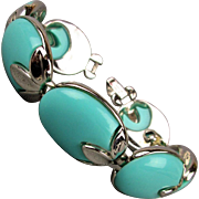 Vintage 1940s Trifari Turquoise Lucite Bracelet