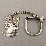 Old Mexican 900 Coin Silver Key Ring Aztec Stylized Bird Pre-Eagle: Key Chain: