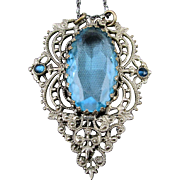 1930s Art Deco Filigree Sterling Silver Pendant Necklace w/ Aqua Glass