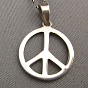 Vintage Sterling Silver ~ PEACE ~ Symbol Pendant Necklace