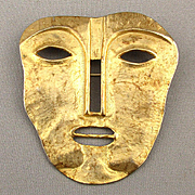 Modernist Gilded One Face - Two Faces Pin Brooch Mask