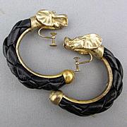 Vintage Bottega Veneta Woven Leather Sterling Silver Elephant Earrings