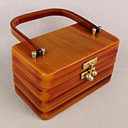 Vintage MYLES Original of MIAMI Lucite Purse Handbag Caramel Streaks