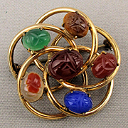 Gold-Filled Scarab Gemstone Pin Brooch Entwined Circles Signed WRE