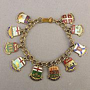 Vintage CANADA Enamel Charm Bracelet - 10 Souvenir Travel Charms