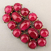 Large 1930s Red Glass Stone Covered Pin Brooch Bold Deco
